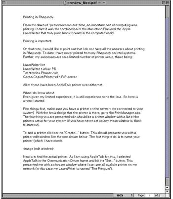 Rhapsody Resource Page: Printing in Rhapsody